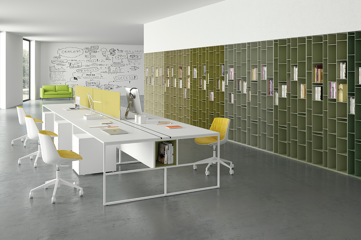 Scrivania Ufficio Doppia : Postazione lavoro scrivania doppia o singola venti di mdf italia