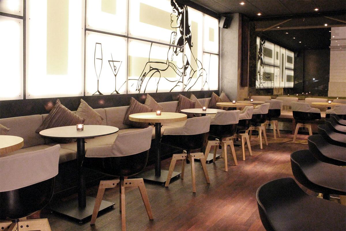 Restaurant bar decor, lounge bar project. MDF Italia