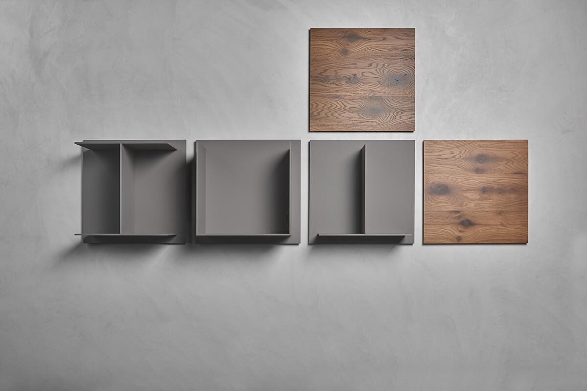 Modular wall mounted square shelves. square.