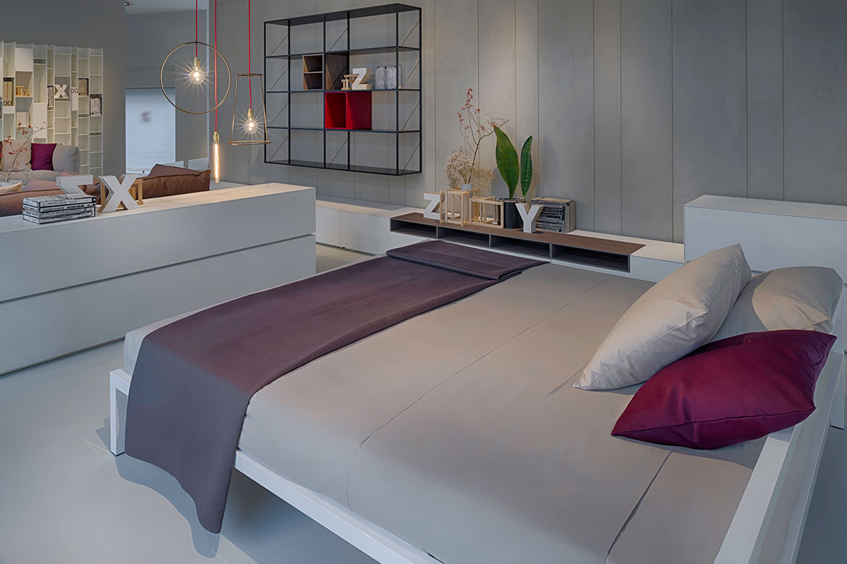 Aluminium bed bed structure with a rigorous design mdf for Mdf italia spa